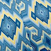 Designer Cotton Blue/Yellow Diamond Maze Print Home Decorating Fabric