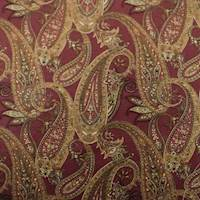Designer Cotton Red/Beige Paisley Print Home Decorating Fabric