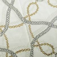 Designer Cotton White Chain Reaction Print Home Decorating Fabric