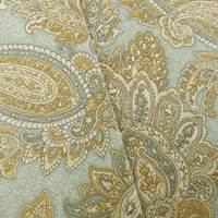 Designer Cotton Teal/Beige Paisley Print Home Decorating Fabric