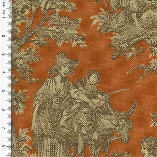 Designer cotton orange beige artisanal toile print home for Decor 55 fabric