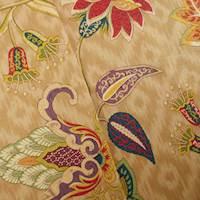 Designer Cotton Beige/Multi Floral Print Decorating Fabric