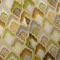 Designer Cotton Green/Beige Scallop Print Home Decorating Fabric