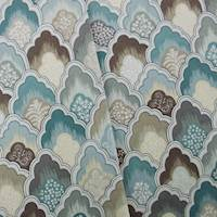 Designer Cotton Blue/Gray Scallop Print Teal Home Decorating Fabric