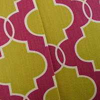 Designer Cotton Yellow/Pink Ogee Print Home Decorating Fabric
