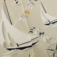 Designer Cotton Gray/White Set Sail Print Home Decorating Fabric