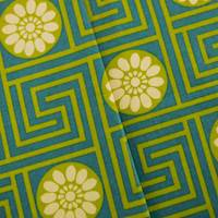 Designer Cotton Key Teal/Green King Maze Print Home Decorating Fabric
