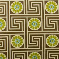 Designer Cotton Key Brown/Green King Maze Print Brown Home Decorating Fabric