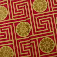 Designer Cotton Key Red/Beige King Maze Print Red Home Decorating Fabric