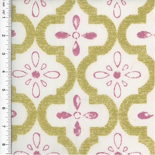Designer Cotton Pink Beige Ogee Print Home Decorating Fabric