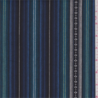 Black/Blue Multi Stripe Cotton Ikat
