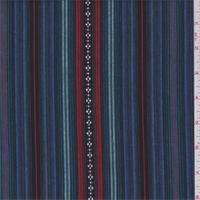 Blue Multi Stripe Cotton Ikat