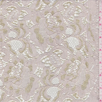 Pearl Beige/Gold Floral Nylon Lace