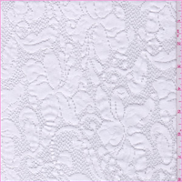 White Floral Jacquard Stretch Lace