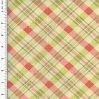 Designer Cotton Pink/Green Chit Chat Plaid Print Home Decorating Fabric