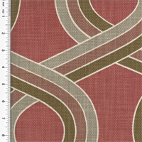 Designer Cotton Red/Brown Ogee Print Home Decorating Fabric