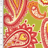 Designer Cotton Green/Pink Paisley Print  Decorating Fabric