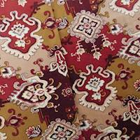 Designer Cotton Red/Beige Print Velveteen Decorating Fabric