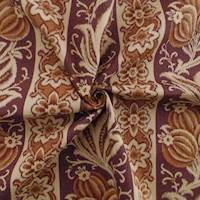Designer Cotton Brown Floral Stripe Print Decorating Fabric