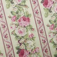 Designer Cotton Pink/Green Floral Print Decorating Fabric