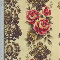Designer Cotton Beige/Multi Rose Print Decorating Fabric