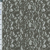 *3 3/8 YD PC--Greyish-green Floral Embroidered Lace