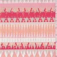 *1 5/8 YD PC--Flamingo Pink/Orange Diamond Stripe Ponte Double Knit