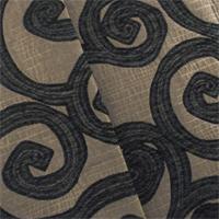 Designer Onyx Black/Brown Spiral Dance Home Decorating Fabric