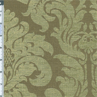 *6 5/8 YD PC--Moss Green Acanthus Chenille Jacquard Upholstery Fabric