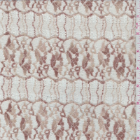Beige/Bronze Floral Scallop Stretch Lace