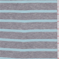 *3 YD PC--Heather Grey/Aqua Geen Stripe Jersey Knit