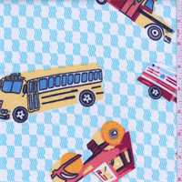 White/Multi Transportation Print Flannel