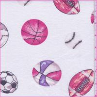 White/Pink Multi Sports Print Flannel
