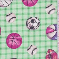 Green Plaid Multi Sports Print Flannel