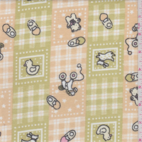 Beige/Avocado Baby Patchwork Print Flannel