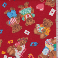 Red Multi Bear Print Flannel