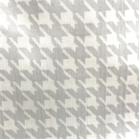 White/Grey Foil Houndstooth Stretch Twill