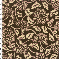 Vintage Linen Brown Batik Floral Print  Decorating Fabric