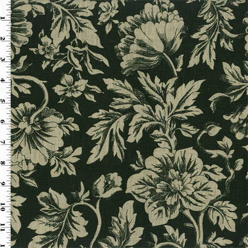 Black Floral Print Vintage Linen Home Decorating Fabric