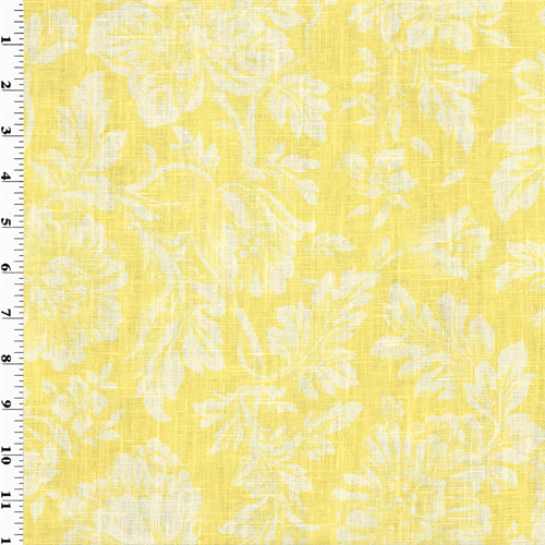 Yellow Floral Print Vintage Linen Home Decorating Fabric