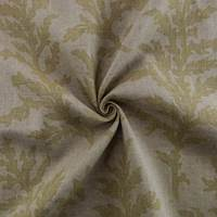 Beige Printed Branch Motif Vintage Linen Home Decorating Fabric