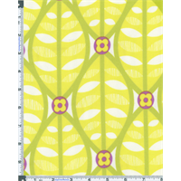 *7/8 YD PC--Citron Yellow Erin McMorris Greenhouse Buttonwood Print Flannel