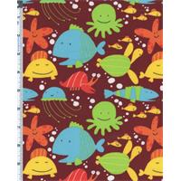 *1 1/4 YD PC--Maroon Multi David Walker Beach Fish Print Flannel