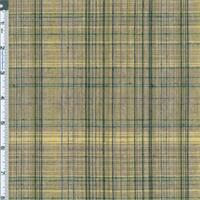 *3 1/2 YD PC--Khaki/Green Linen Blend Madras Plaid