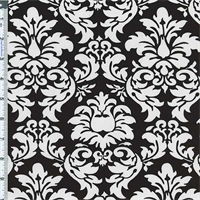 *2 3/4 YD PC--Black/White Dandy Damask Cotton Print by Michael Miller