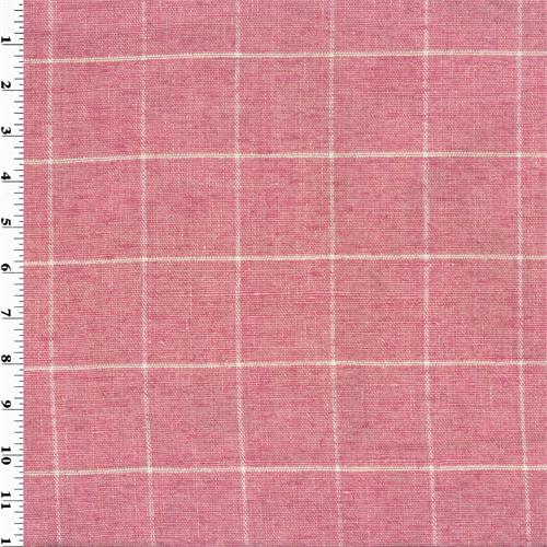 Designer Cotton Primrose Pink Windowpane Home Decorating Fabric