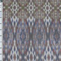 *1 1/2 YD PC--Brown/Blue Multi Tribal Ikat Mesh Jersey Knit