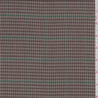 Taupe/Brown/Green Houndstooth Plaid Polyester Suiting