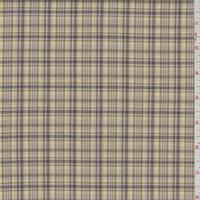 Beige/Brown/Yellow Mini Plaid Polyester Suiting