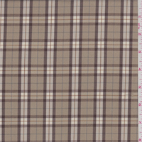 Camel/Brown Plaid Polyester Suiting